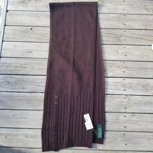 NWT Lauren Ralph Lauren cableknit button scarf
